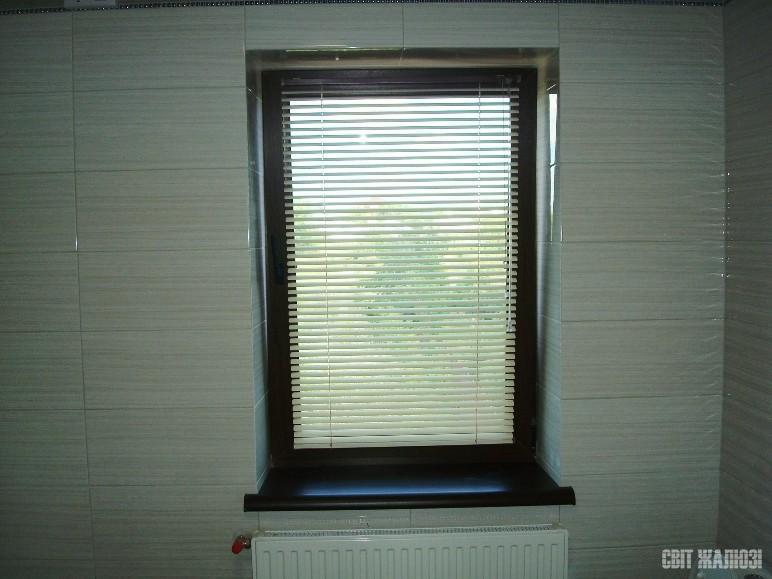 Ванная-туалет. Стандартные горизонтальные жалюзи с нижней фиксацией. Защита от солнца, посторонних глаз, управление освещенностью.