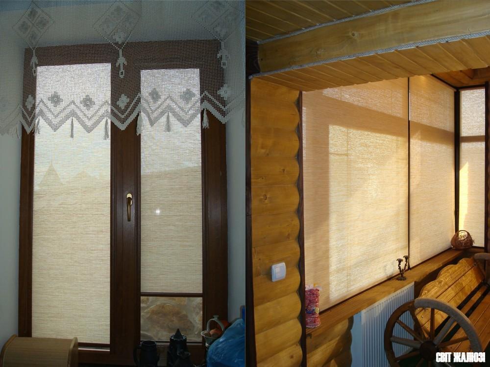 Рулонные шторы, закрытый (слева) и открытый (справа) механизмы, натуральный материал Шикатан.